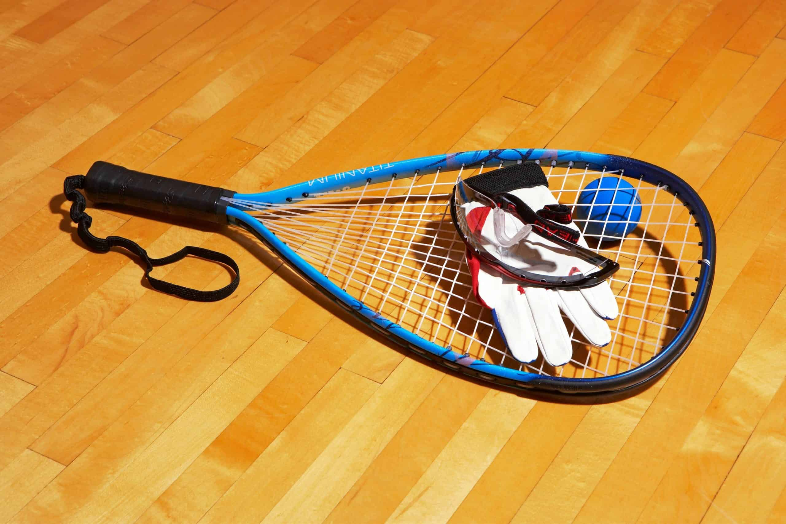 Racquetball equipment, racquetball racquet, racquetball ball, racquetball glove, racquetball goggles.