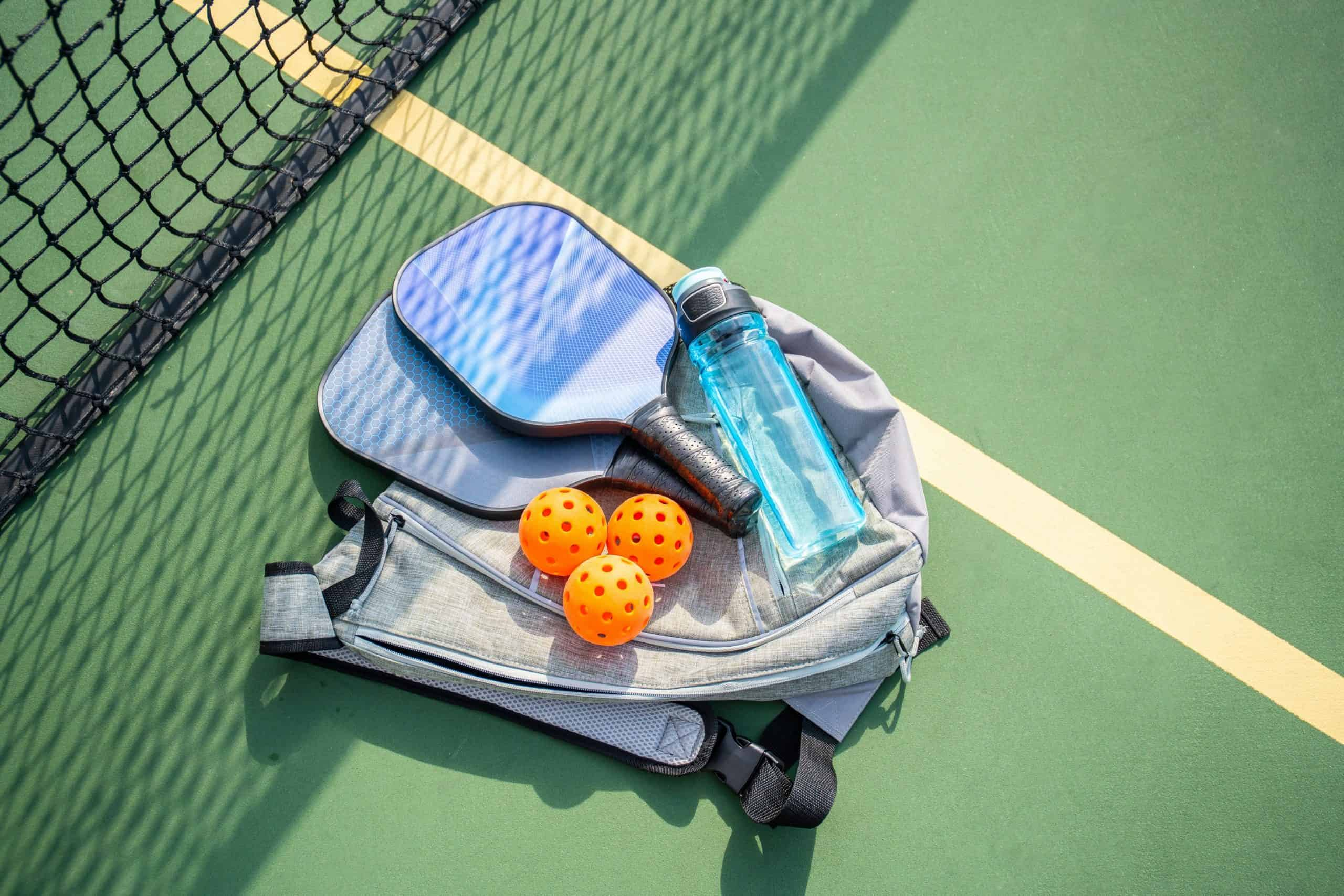 pickleball paddles, pickleball balls, pickleball bags & water bottle