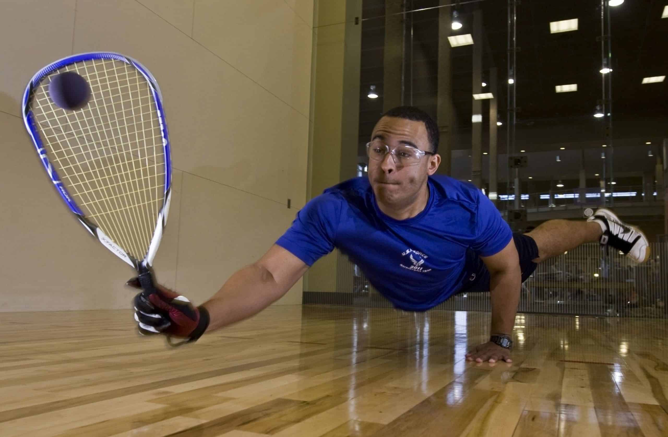 Racquetball player wearing racquetball goggles